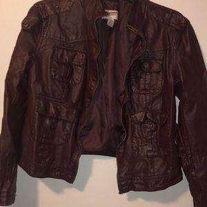 Girls large faux leather jacket